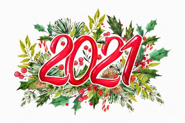 Akwarela Nowy Rok 2021 Z Jemiołą Premium Wektorów