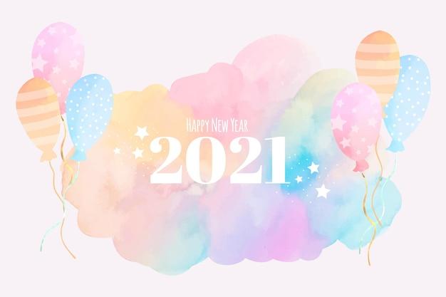 Akwarela Nowy Rok 2021 Premium Wektorów