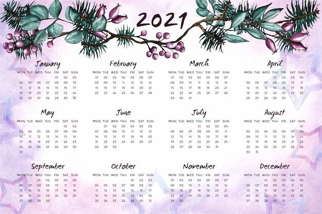Akwarela Nowy Rok Kalendarzowy 2021 Premium Wektorów