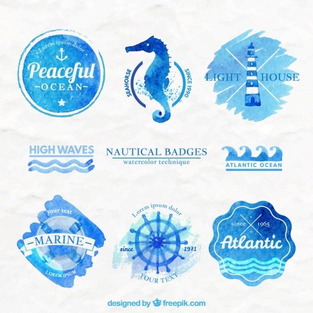 Akwarela odznaki morskich Darmowych Wektorów