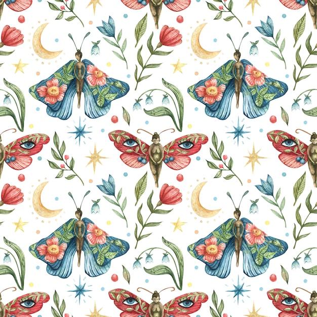 Akwarela Okultystyczny Wzór. Ilustracja Motyle-dziewczynki, Kwiaty, Gałęzie, Liście, Jagody, Księżyc, Gwiazdy Nocne Premium Wektorów