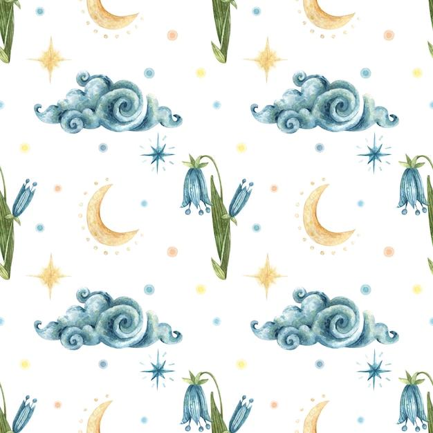 Akwarela Okultystyczny Wzór. Ilustracja Niebieskie Kwiaty Kłoda, Chmura, Księżyc, Gwiazdy Nocy. Premium Wektorów