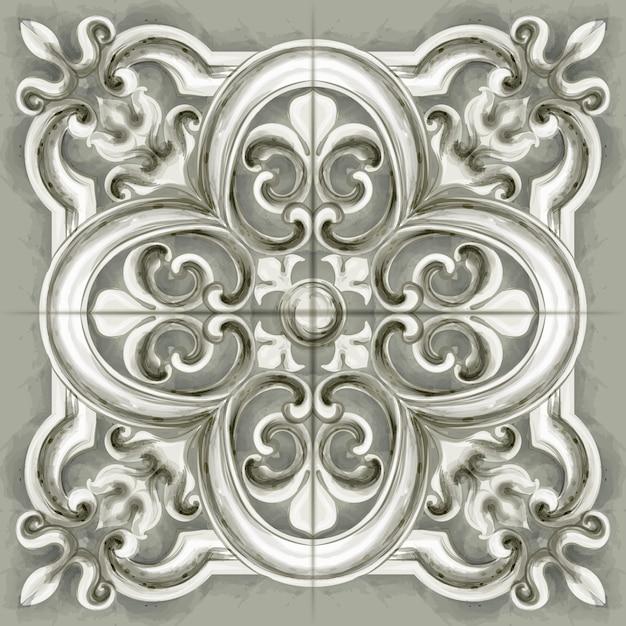 Akwarela ornament w postaci płytek lub mozaiki Premium Wektorów