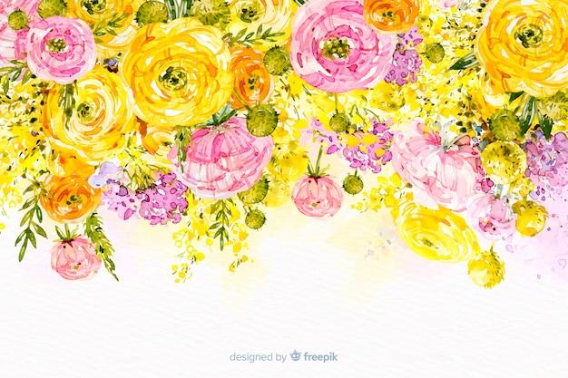 Akwarela piękne kwiaty kolorowe tło Darmowych Wektorów