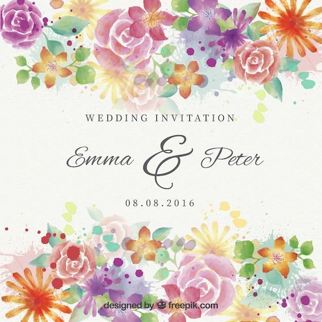 Akwarela piękne kwiaty zaproszenia ślubne Darmowych Wektorów