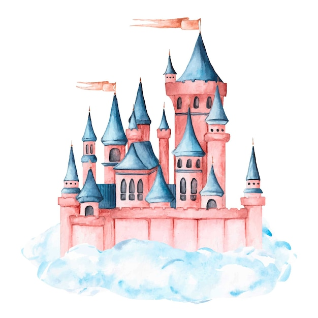 Akwarela Piękny Bajkowy Zamek Darmowych Wektorów
