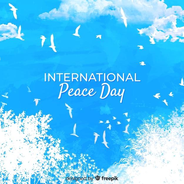 Akwarela Pokoju Dnia Międzynarodowy Pojęcie Z Białą Gołąbką Darmowych Wektorów
