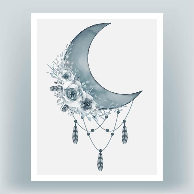 Akwarela Półksiężyc W Kolorze Niebieskim Kadeta Z Kwiatem Darmowych Wektorów
