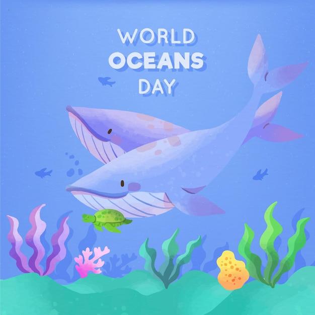 Akwarela Projekt światowego Dnia Oceanów Darmowych Wektorów