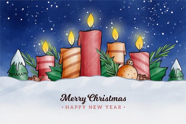Akwarela Projekt Tło świeca Boże Narodzenie Darmowych Wektorów