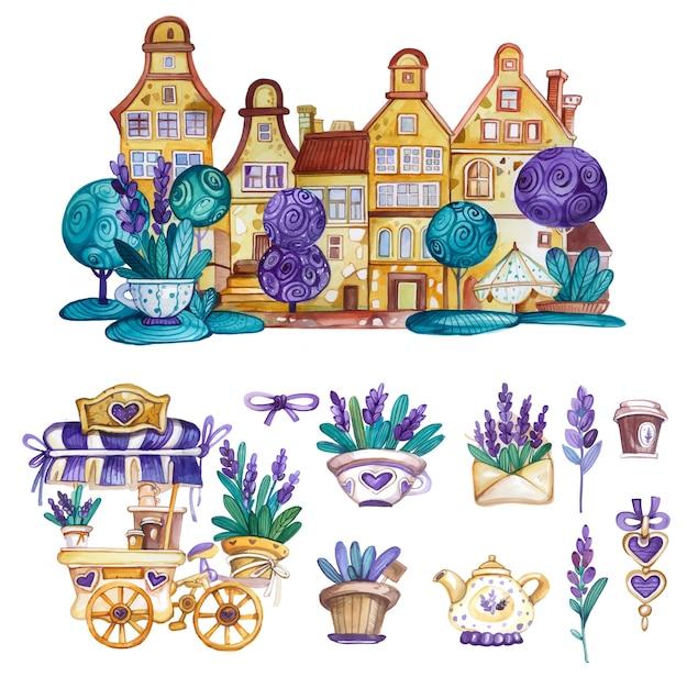 Akwarela Provance Zestaw Elementów Dekoracyjnych Z Domem, Wózkiem Do Kawy I Kwiatami Lawendy Premium Wektorów