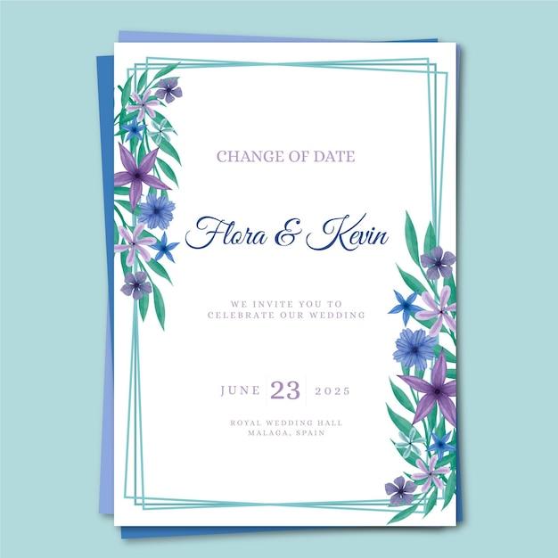 Akwarela Przełożona Karta ślubu Darmowych Wektorów