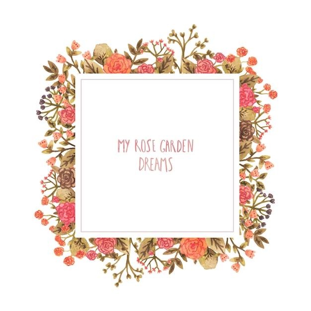 Akwarela Rama Z Kwiatami W Romantycznym Stylu. Premium Wektorów