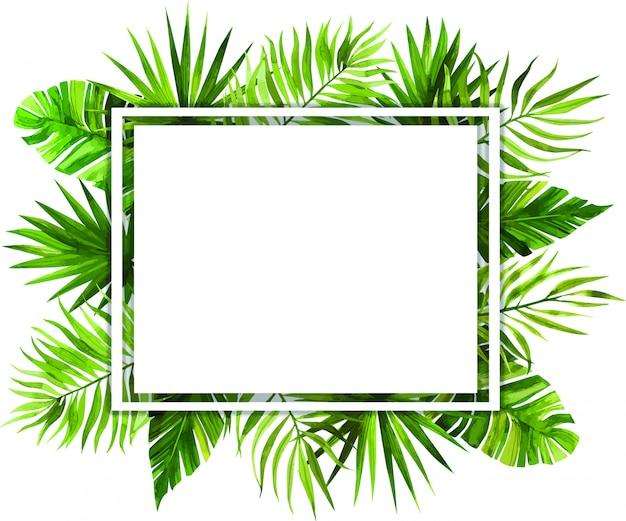 Akwarela Ramki Z Tropikalnych Liści Premium Wektorów