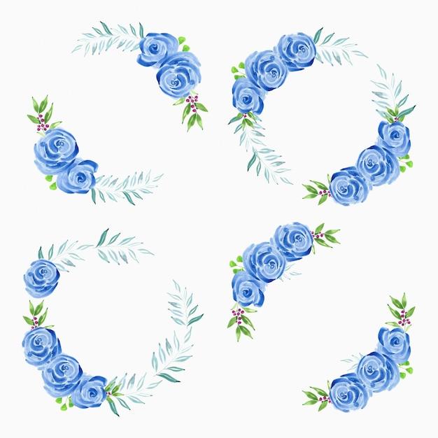 Akwarela ręcznie malowana kolekcja wieniec niebieski kwiat róży Premium Wektorów
