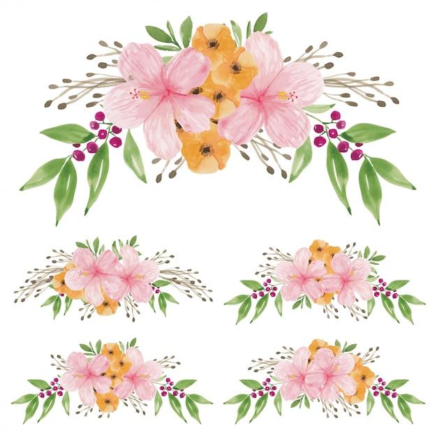 Akwarela Ręcznie Malowana Z Zestawu Bukietów Kwiatów Hibiskusa Premium Wektorów