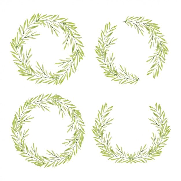Akwarela Ręcznie Malowane Kolekcja Wieniec Zielone Liście Premium Wektorów