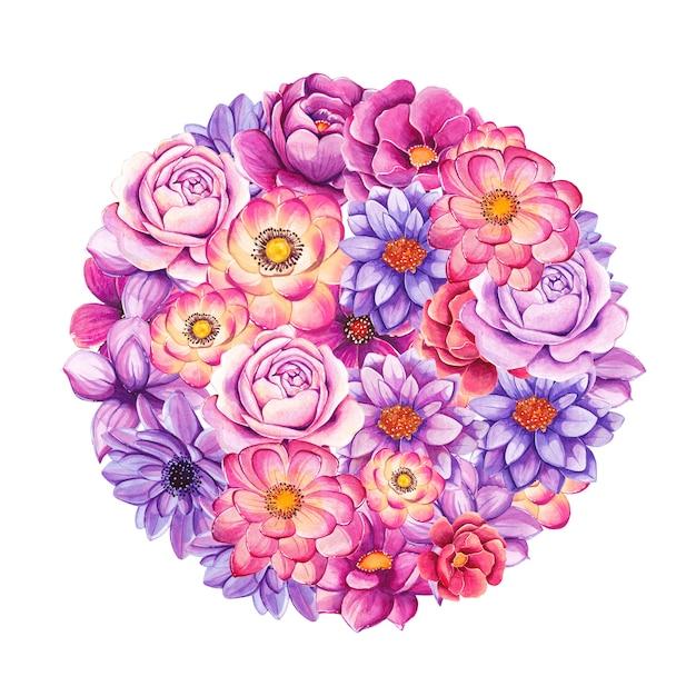 Akwarela Ręcznie Malowane Kwiaty W Kształcie Koła Premium Wektorów