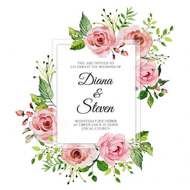 Akwarela różowa róża kwiecista ślubna zaproszenie karta Premium Wektorów