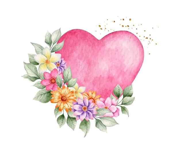 Akwarela Różowe Serce Z Kwiatami Premium Wektorów