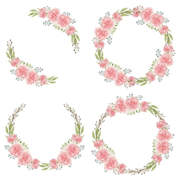 Akwarela Różowy Goździk Kolekcja Koło Kwiat Rama Premium Wektorów
