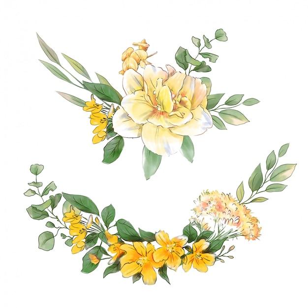 Akwarela Rysunek Wieniec Delikatne Wiosenne Kwiaty Premium Wektorów