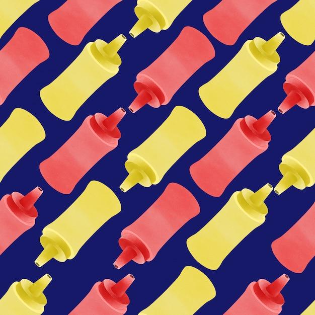 Akwarela Słodkie Hotdog Sos Butelka Bezszwowe Wzór Deliciouse Premium Wektorów