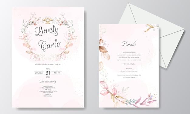 Akwarela ślub Zaproszenia Szablonu Karty Z Kwiatem I Liśćmi Premium Wektorów