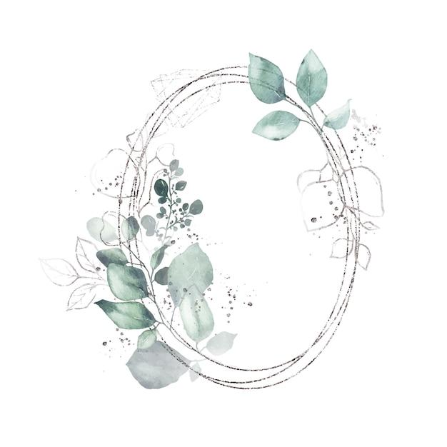 Akwarela srebrna geometryczna okrągła owalna rama z zielonymi liśćmi Darmowych Wektorów