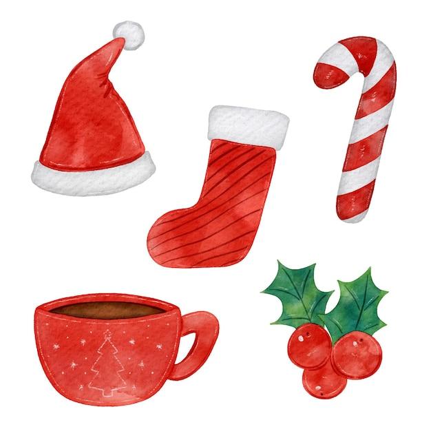 Akwarela świąteczna Kolekcja Elementów Premium Wektorów