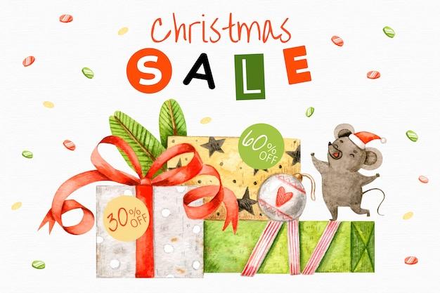 Akwarela świąteczna Koncepcja Sprzedaży Darmowych Wektorów