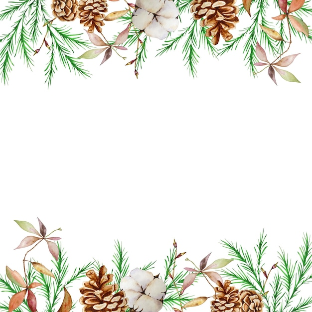 Akwarela świąteczna Kwadratowa Ramka Z Zimowymi Gałęziami Jodły I Sosny, Szyszkami I Bawełną. Premium Wektorów