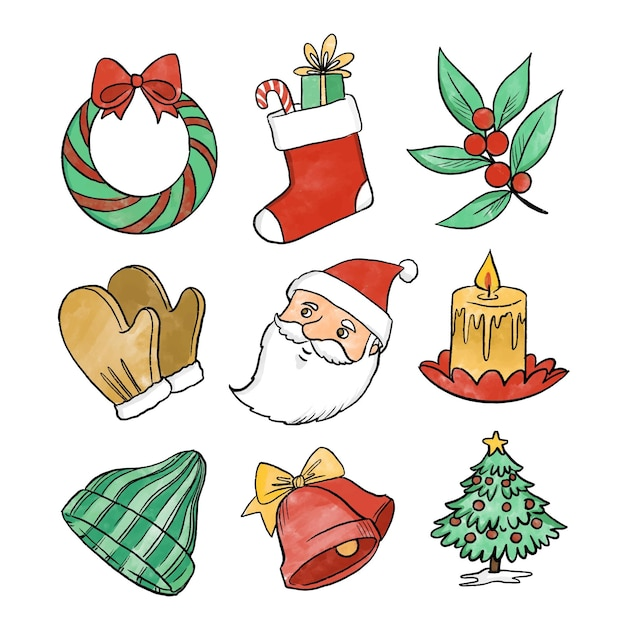Akwarela świąteczne Opakowanie Elementów Darmowych Wektorów