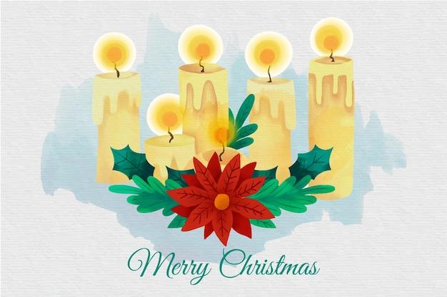 Akwarela świąteczne świece Tapety Darmowych Wektorów
