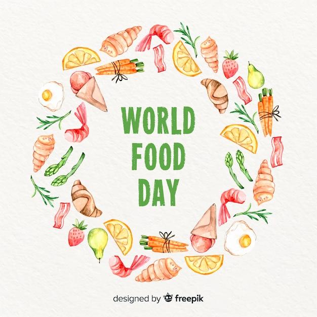 Akwarela światowy dzień jedzenia z pierścieniem alimenty Darmowych Wektorów