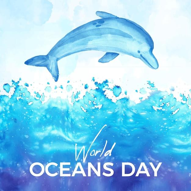 Akwarela światowy Dzień Oceanów Tło Darmowych Wektorów