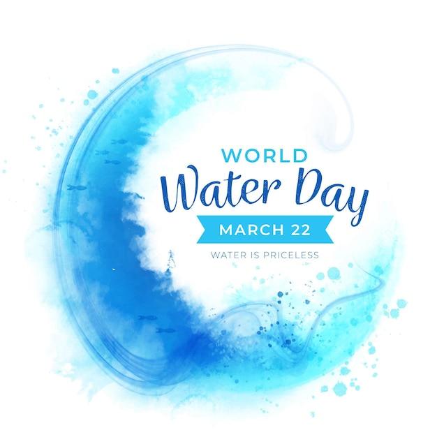 Akwarela światowy Dzień Wody Darmowych Wektorów