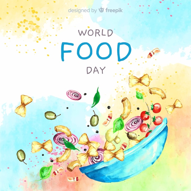Akwarela światowy dzień żywności z miski Darmowych Wektorów