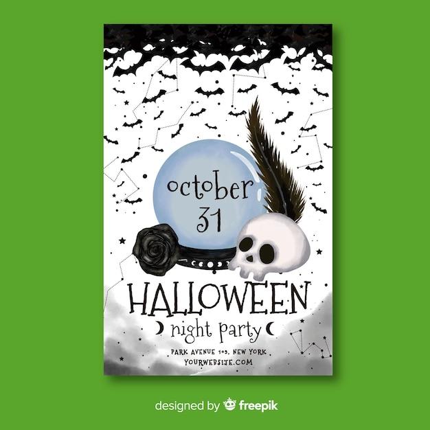 Akwarela Szablon Halloween Party Ulotki Darmowych Wektorów