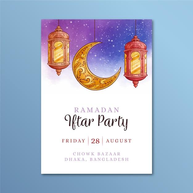 Akwarela Szablon Zaproszenia Iftar Darmowych Wektorów
