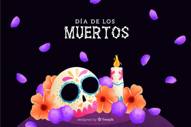 Akwarela Tapety Día De Muertos Darmowych Wektorów
