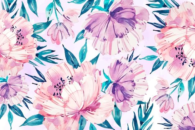 Akwarela tle kwiatów w delikatnych kolorach Darmowych Wektorów