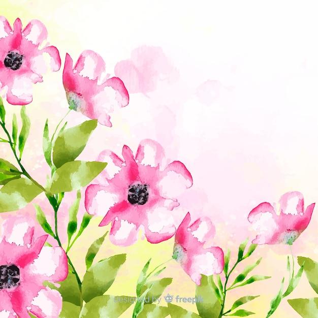 Akwarela tle kwiatów z miejsca kopiowania Darmowych Wektorów