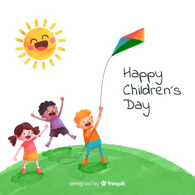 Akwarela tło dzień dziecka Darmowych Wektorów