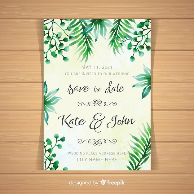Akwarela tropikalna karta zaproszenie na ślub Darmowych Wektorów