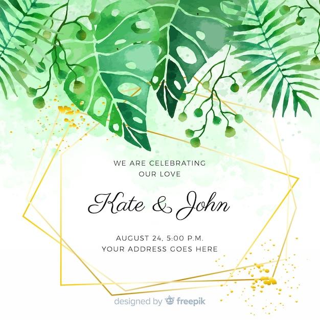 Akwarela tropikalny zaproszenie na ślub Darmowych Wektorów