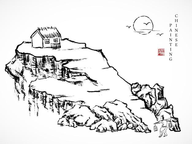 Akwarela Tuszem Farba Sztuka Tekstura Ilustracja Krajobraz Człowieka Niosącego Drążek Na Ramię W Drodze Powrotnej Do Domu, Na Skalnym Wzgórzu. Premium Wektorów