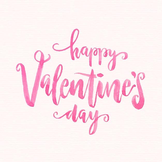 Akwarela valentine's day napis Premium Wektorów