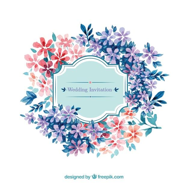 Akwarela w kwiatowy zaproszenie na ślub stylu Darmowych Wektorów