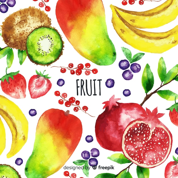 Akwarela Warzywo I Owoc Tło Darmowych Wektorów